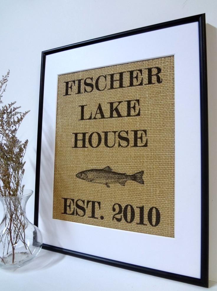 Personalized Lake House Sign on natural by burlapartbyelizabeth