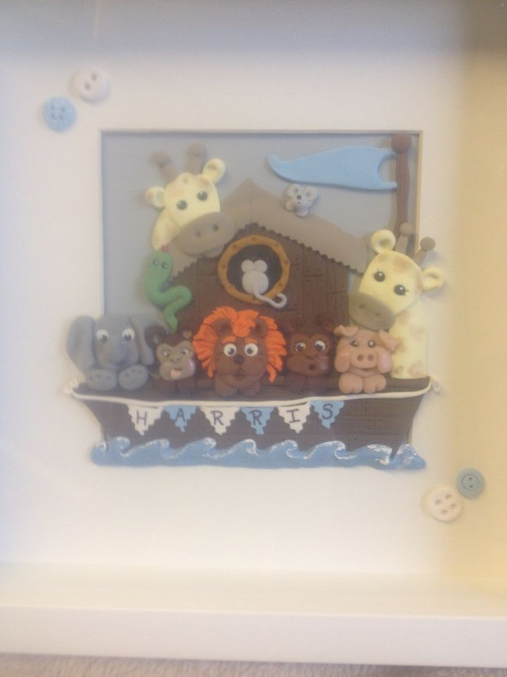 Personalised nursery framed art with Noah's ark theme complete with hand made button embellishments
