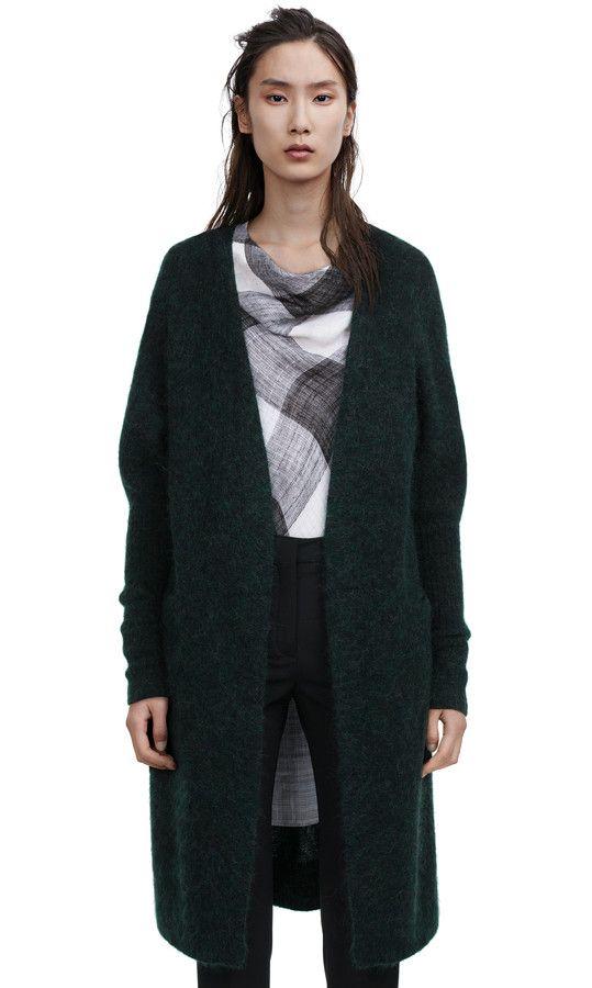 Acne Studios Raya dk forest green Long cardigan sweater