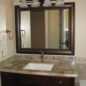 Beautiful Oil Rubbed Bronze Vanity Mirror Is A Focal Point In This Bathroom Www Franksglass Com