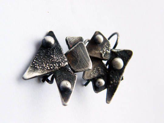 Wings. oxidized sterling silver earrings. sculptural earrings.