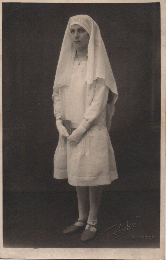 Young nun, white habit, English vintage, real photo, Christian, faith religion, holy orders, religious, Workington, Cumbria  (rppc/re6)