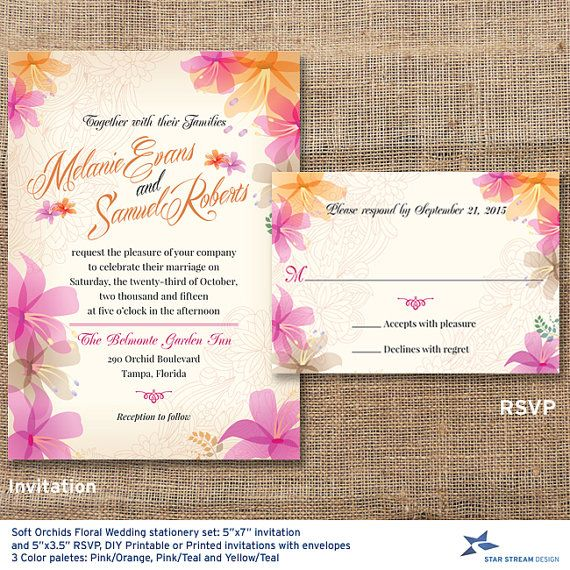 Gorgeous abstract orchids punctuate the border of this lovely tropical wedding invitation and reply card. Smooth outlines of flowers make a