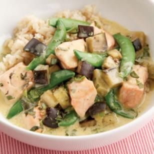 Team up delicious salmon and eggplant in this Salmon & Eggplant Curry recipe!