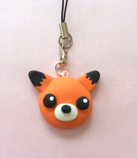 Cute polymer clay baby fox charm polymer clay by KawaiiCreationz, $8.00