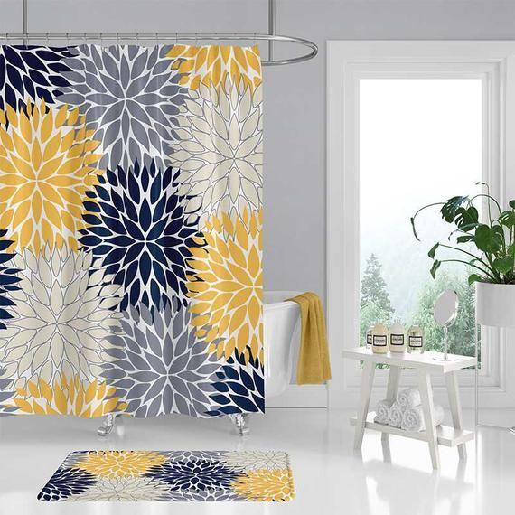 Blue And Yellow Shower Curtain Dahlia Floral Shower Curtain Bath