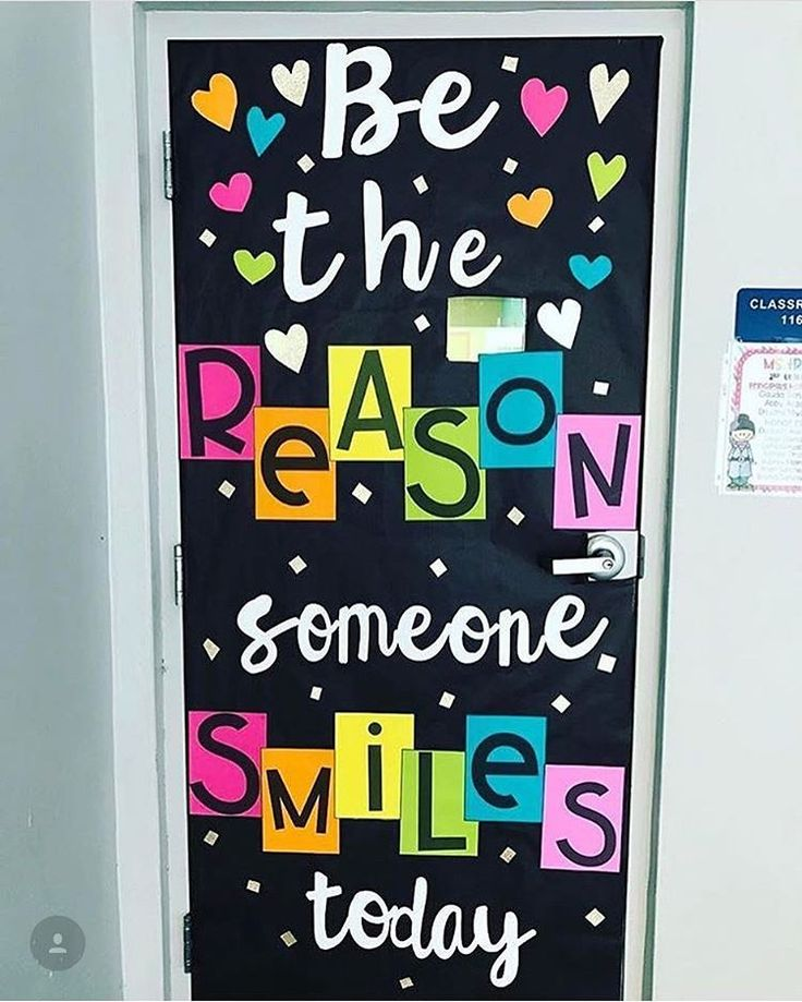 a colorful classroom door to encourage kindness in the school - Classroom Design Ideas