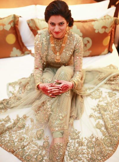 Indian Wedding Suits - Anarkali | WedMeGood | Champagne Green Net Anarkali with Heavy Pakistani and Zardosi Embroidery #wedmegood #anarkali #zardosi