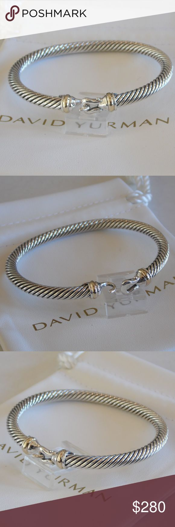 David Yurman 18k Gold Sterling Silver Bracelet New David Yurman 5mm 18kt Yellow Gold and Sterling Silver Buckle Bracelet – New without Tags. The bracelet is a size medium with inside length of 6.75 inches width of 5mm. Bracelet comes with a white David Yurman pouch. Hallmarked copyright symbol D.Y. 750 925 with buckle hook clasp.  Feel free to contact me with and questions. David Yurman Jewelry Bracelets
