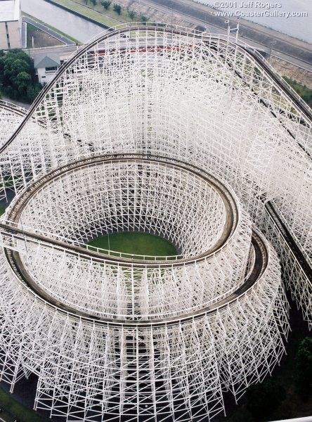 White Cyclone, a wooden roller coaster at Nagashima Spa Land in Mie Prefecture, Japan ナガシマスパーランド 木製コースター