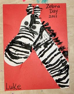 The head is the child's foot.  Use tiny paint brushes to make stripes.