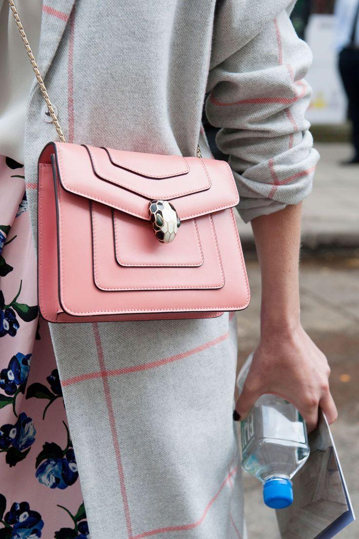 Wonderful Bvlgari Serpenti bag in pink, London Fashion Week, Fall 2015