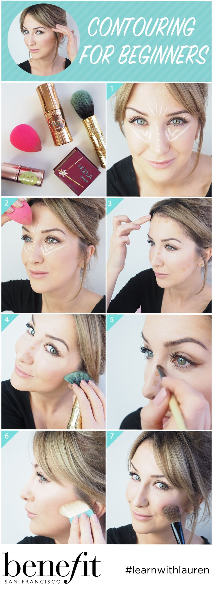 Simple contouring tutorial to add to your makeup routine. Start with Hello Flawless Oxygen Wow foundation for a light, and seamless liquid base. Build with a no shimmer, no shine shy beam for a natural looking highlight. Finish with hoola for a matte bronzing powder to sculpt cheekbones.