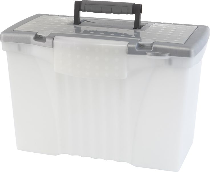 Portable File Box with Organizer Lid Legal/Letter