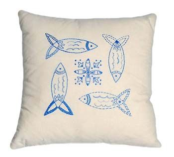 "Herring is a simple design with a true Scandinavian feel! Embroidered with blue floss on pre-printed 100% cotton fabric! The finished design is 16"" square and would make a cool beach cushion, small table center, or framed piece for your beach house. Extra supplies are needed to complete the pillow."