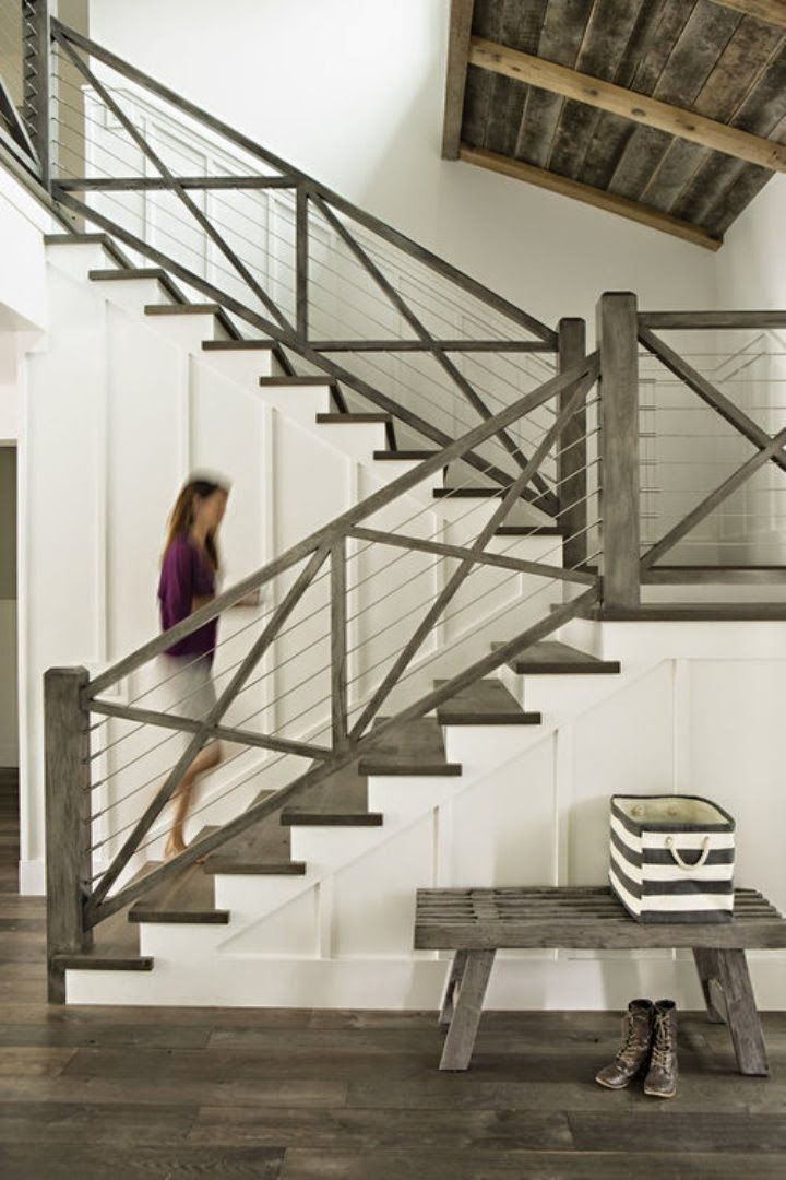 coastal california farmhouse; stair railing idea...could even use same concept for exterior railings.