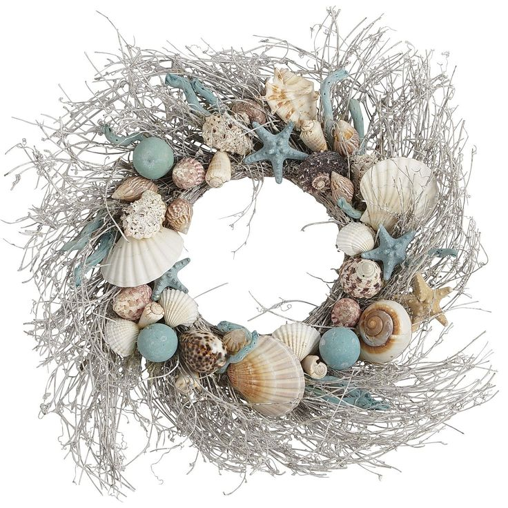 ~ Cool Coastal Shell Wreath ~