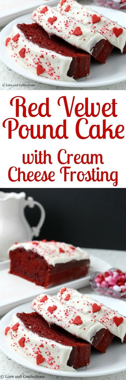 Red Velvet Pound Cake with Cream Cheese Frosting from LoveandConfections.com