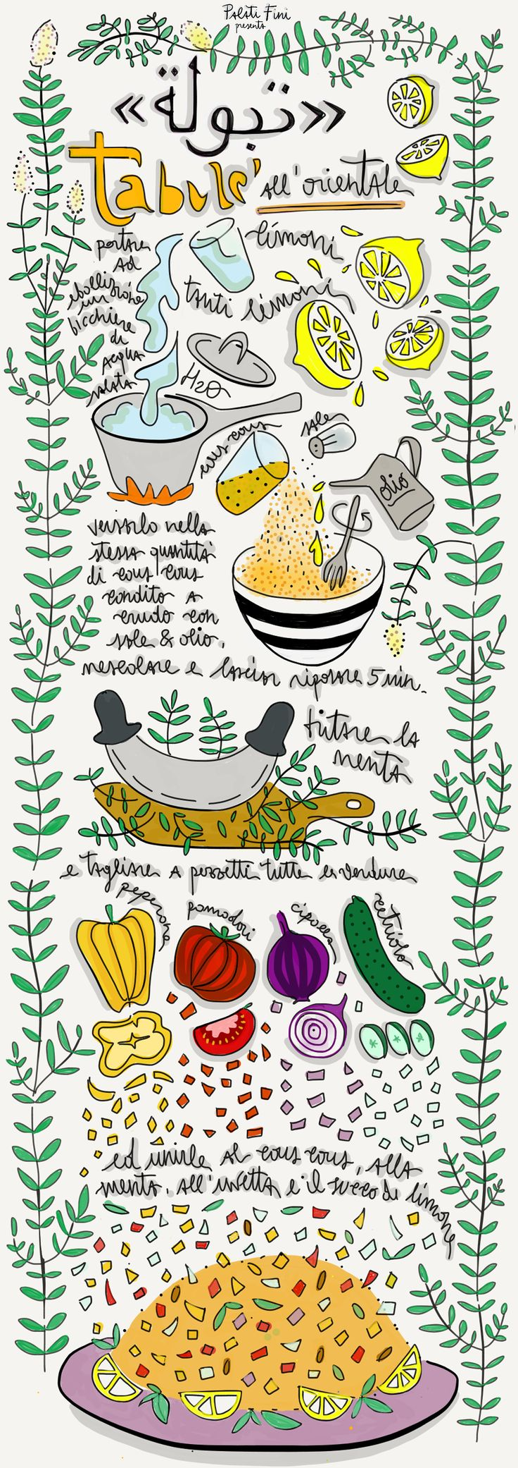 tabbouleh cous cous illustrated recipe food illustration