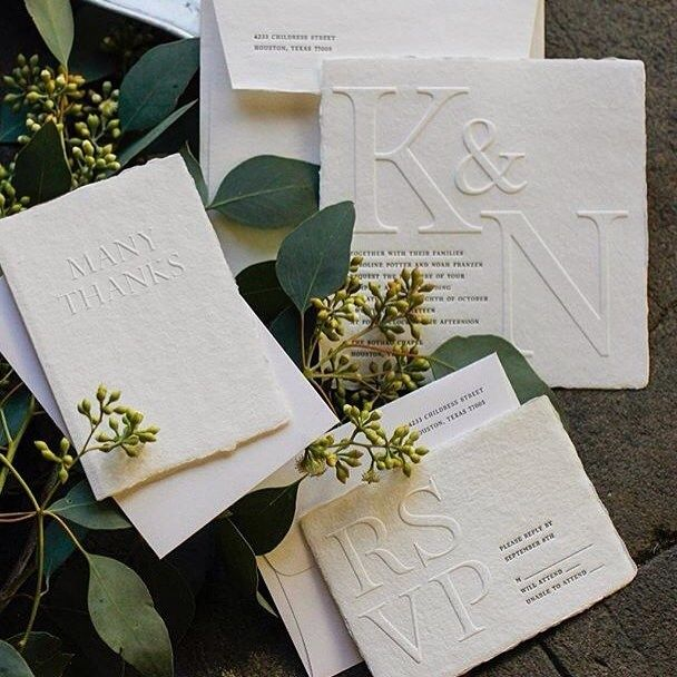 """""""Blind"""" embossed paper goods for the ultimate neutral printed palette.  – INSPIRATION // MODERN WEDDING"""