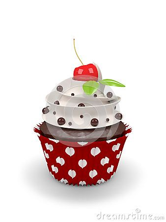 3d sweet cupcake with cherry  on white background