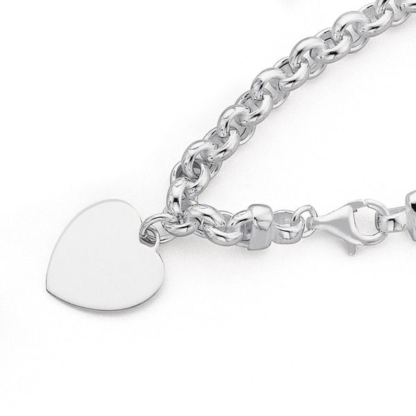 Italian Made Sterling Silver 19cm BELCHER with Heart Charm Bracelet from PROUDS The Jewellers. $99.90.