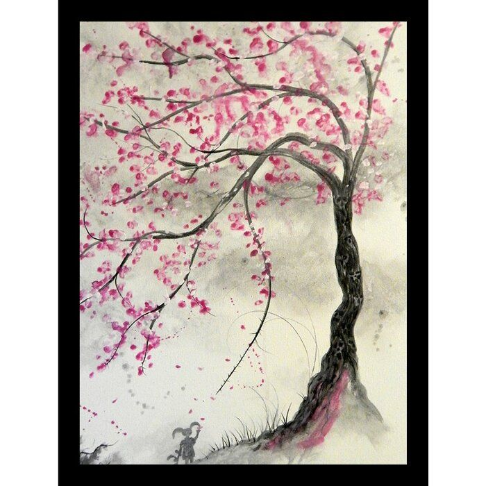 Cherry Blossom Tree Picture Frame Print On Paper In 2021 Blossom Tree Tattoo Cherry Blossom Tree Tattoo Cherry Blossom Painting