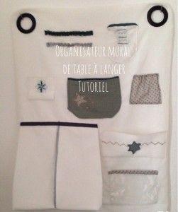 Organisateur de table langer tableau de vide poche mural en tissus avec t - Vide poche mural ikea ...