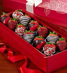 Happy Valentine's Day Chocolate Dipped Strawberry Rose Box