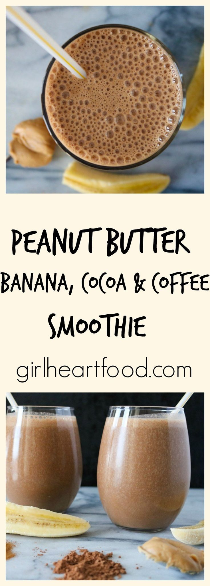 Peanut Butter, Banana, Cocoa & Coffee Smoothie - girlheartfood.com