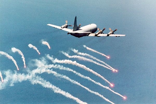 "(Sep. 09, 1996) -- A P-3C ""Orion"" attached to Patrol Squadron 45 (VP-45) fires self-defensive flares in preparation for an over land Electro-Optical (EO) surveillance mission in Bosnia-Herzegovina."