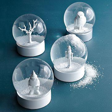 white snow globes.