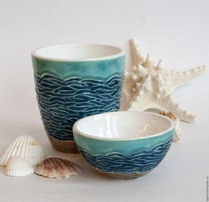 """Ceramic bowls / Бокалы, стаканы ручной работы. Ярмарка Мастеров - ручная работа. Купить Комплект стакан и пиала """"Лазурный берег"""". Handmade. Бирюзовый"""