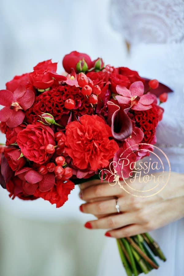 """Bride's Exquisite """"All Red"""" Bouquet Comprised Of: English Garden Spray Roses, Carnations, Coxcomb (Celosia), Calla Lilies, Orchids, Hypericum Berries"""