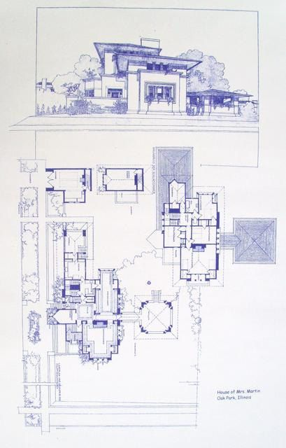 Frank Lloyd Wright Mrs. Martin House Blueprint by BlueprintPlace, $18.99