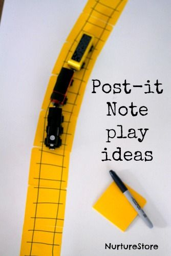Fun Post it note play activities for kids- I should put these in my purse for when we are stuck waiting.