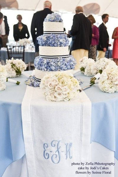 amazing: Blue Hydrangeas, Monograms Tables, Cakes Tables, Wedding Cakes, Tables Runners, Flowers, Table Runners, Bridesmaid Bouquets, Blue And White