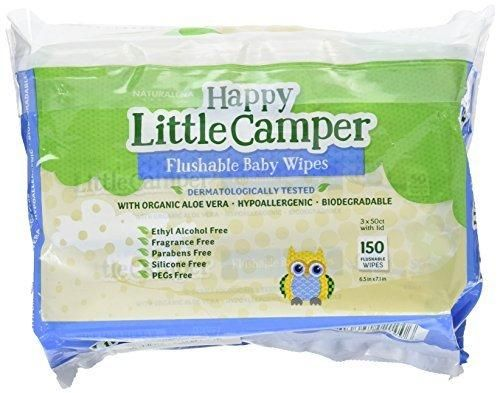 Happy Little Camper Flushable Baby Wipes with Organic Aloe Septic Safe 150 Count