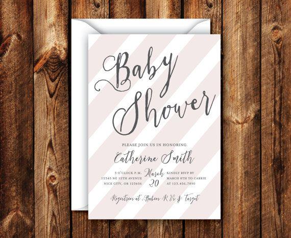 Customizable Baby Shower Boy Or Girl Baby Shower Invitation Elegant Modern  Rustic Pink Stripe Invite 5x7