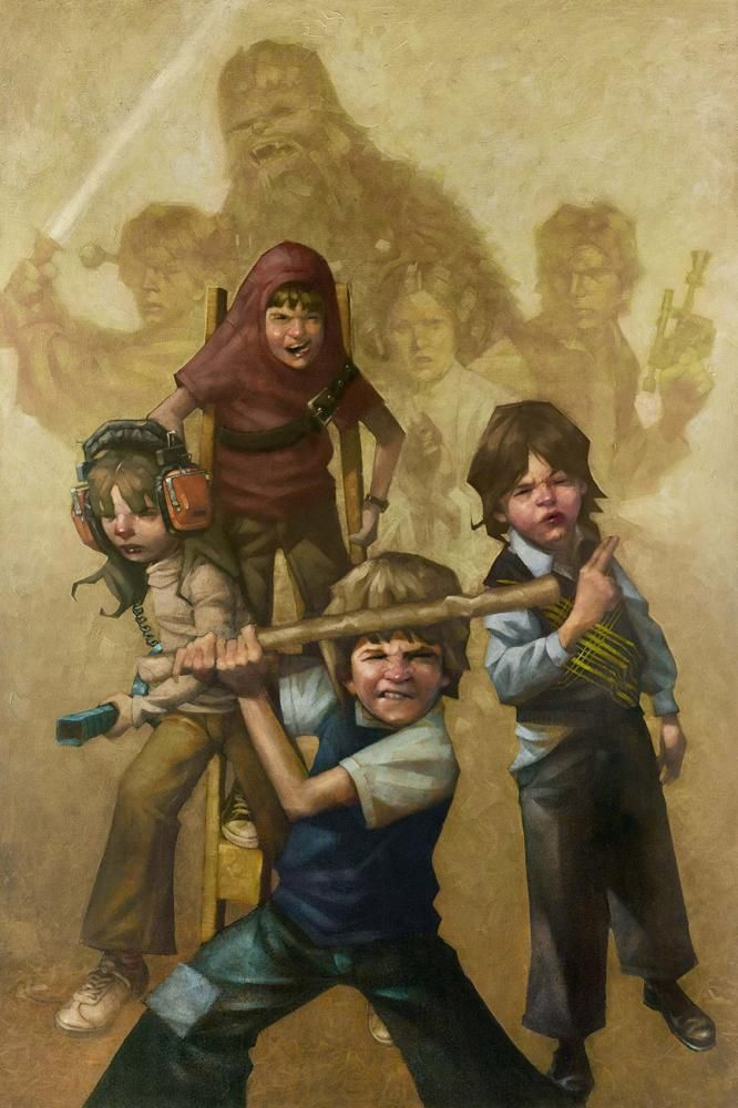 In a Backyard Far Far Away Series: Star Wars - Chewbecca, Han Solo, Princess Leia, and Luke Skywalker by Craig Davison *