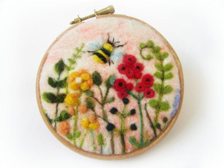 Vilten schilderen naald vilten bloemen van Crafts2Cherish op Etsy
