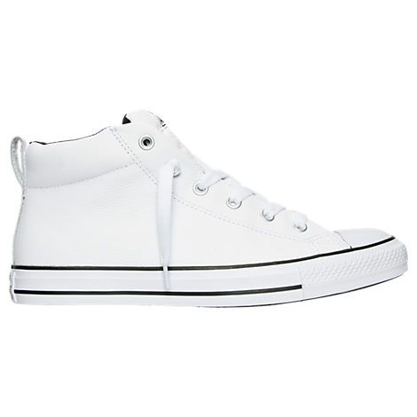 CONVERSE MEN'S CHUCK TAYLOR ALL STAR STREET MID LEATHER CASUAL SHOES, WHITE. #converse #shoes #