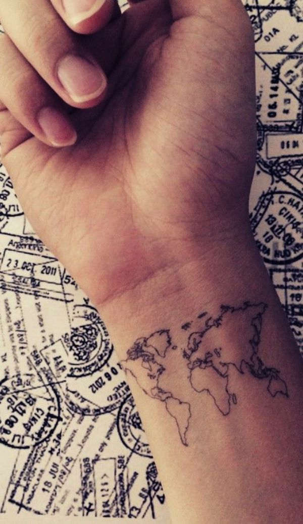 <3 COOL MAP DESIGN: BORN TO TRAVEL<3 30 Small Tattoo Designs With Powerful Meaning