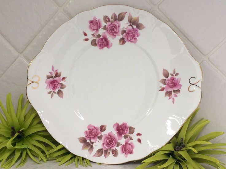 FOR SALE - Vintage Duchess Fine Bone China Cake / Sandwich Plate - Pink Roses