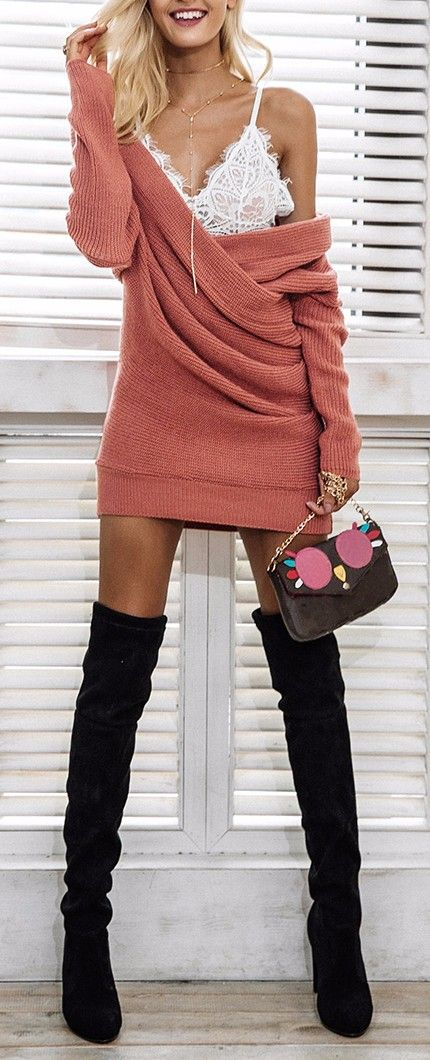 knit dress to wear with over the knee boots #omgoutfitideas #outfitinspiration #women