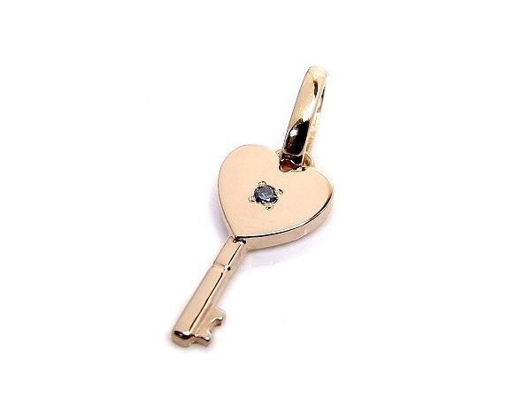 AMBRACE blue diamond K18 pink gold heart key pendant ピンクゴールド ペンダント チャーム ネックレス ハート カギ ブルーダイヤ