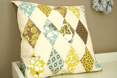 harlequin pillow tutorial: Harlequin Pillows, Fresh Pieces, Diamonds Pillows, Pieces Modern, Pillows Tutorials, Sewing Ideas, Quilts Ideas, Diy Pillows, Modern Quilts