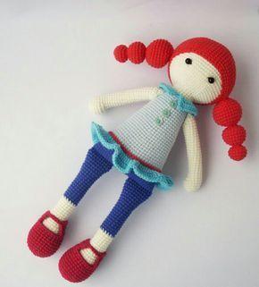 Kırmızı boğum boğum saçlı amigurumi örgü oyuncak bebek modelleri ve yapılışı anlatımlı