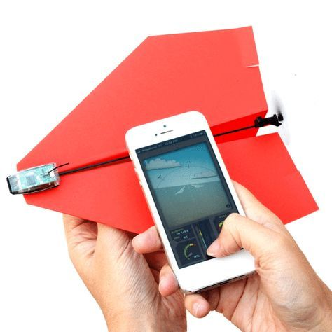 The Paper Airplane Drone Kit allows you to create custom aircraft remotely controlled by your smartphone. The device is robustly designed to withstand falls and the force of impact.Rechargeable and battery operated.