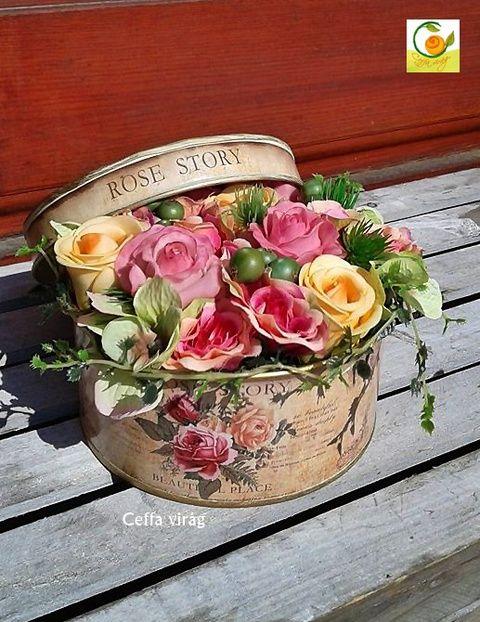Egy vintage doboznyi virág - anyák napjára, Esküvő, Otthon, lakberendezés, Ruha, divat, cipő, Esküvői csokor, Meska